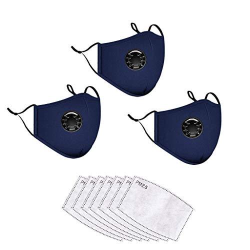 CRITY Bandanas reutilizables de algodón lavables Protección facial completa transpirable con válvula de respiración para adultos 7 Reemplazos del filtro de carbón activado (Navy)