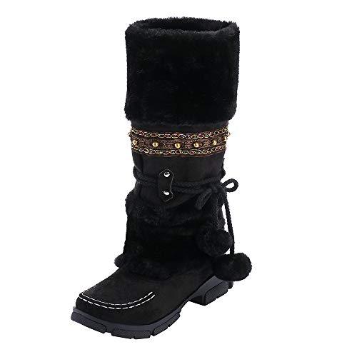 Honestyi Suede Bottes Femme Bout Rond Bottes de Neige Hiver Keep Warm Shoes Tube Long Bottes Couleur Unie Casual Chaussures de Outdoor Snow Boots Grande Taille Chaussures