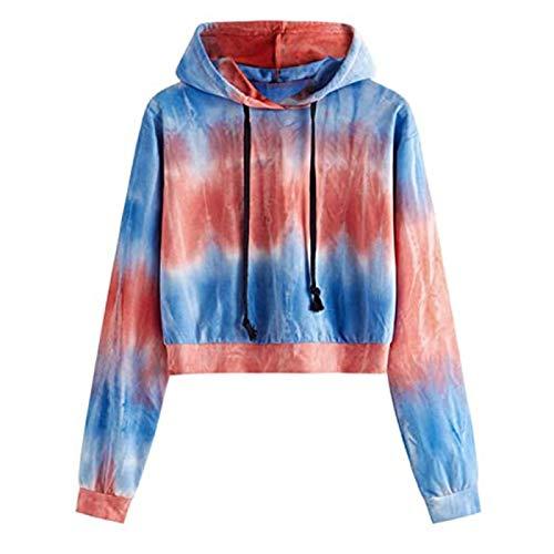 zhanxin Hoodies Sweatshirts Womens Long Sleeve Hoodie Pullover Tie-dye Print Sweatshirt Women Short Sweatshirt Red