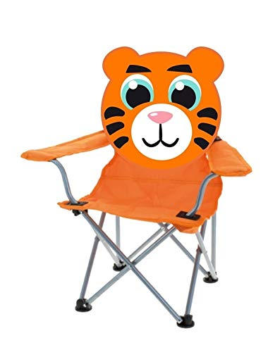 matrasa Campingstuhl für Kinder - Klappstuhl Strandstuhl Gartenstuhl Kinderstuhl - Tiger (Orange)