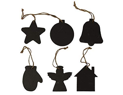 Natursteinzentrum Rhein Main Schiefer Geschenk Anhänger, Weihnachtliche Motive, 6er Set, Motiv: Haus, Stern, Engel, Handschuh, Glocke und Weihnachtskugel
