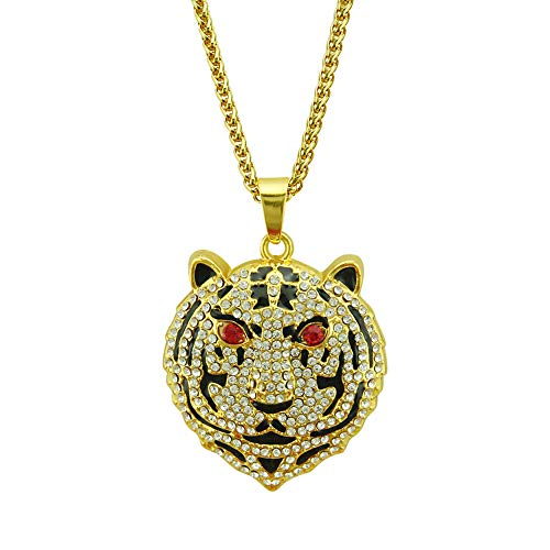 Hip-Hop Tiger Head Necklace, European And American Fashion Full Diamond Alloy Necklace