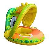 mciskin Baby Pool Float mit Sonnendach – Aufblasbarer Schwimmring Säugling Baby Floatie Spring Float Pool Fit Sicherheit Sitz Kinder Wasserspielzeug (Grün-Frosch)