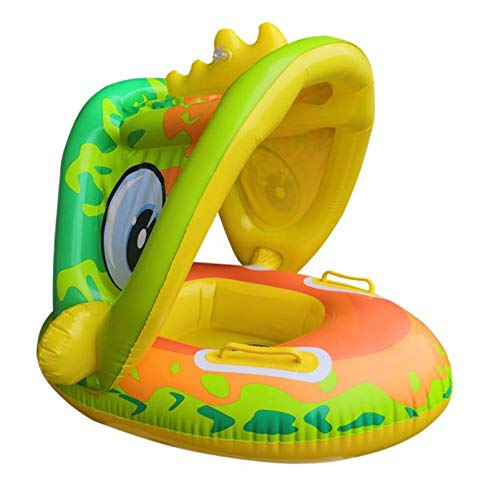mciskin Baby Pool Float with Sun Canopy - Inflatable Swimming Ring Infant...