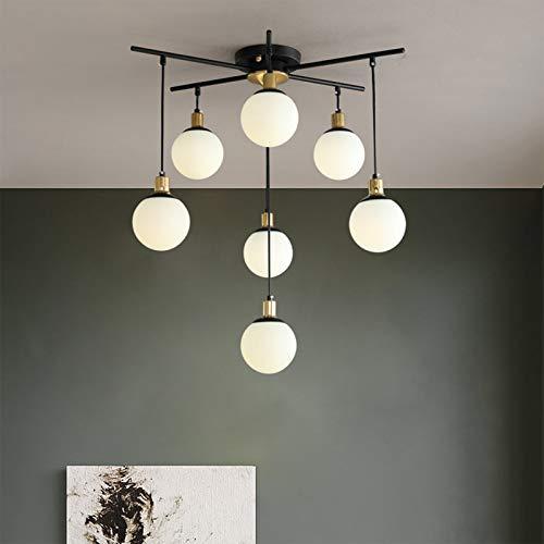 oxskk Moderno Mid Century Sputnik Lámparas,Led Montaje Al RAS Luz De Techo,Metal Negro Industrial Iluminación para La Sala De Estar De La Cocina-7 Luces 28x20cm(11x8inch)