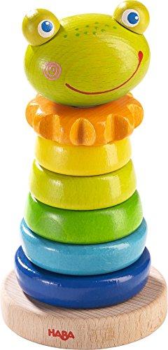 HABA 302915 – Steckspiel Frosch, Sortier- und Motorikspielzeug zum Lernen von Größen und Farben, Holzspielzeug ab 18 Monaten
