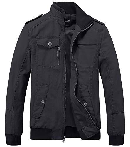 Wantdo Men's Military Cotton Stand Collar Windbreaker Jacket Small Grey
