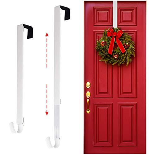 Larchio Ajustable Wreath Door Hangers, 15-25''Metal Wreath Hooks Over The Door Wreath Holder for Xmas Wreath Decorations(White)