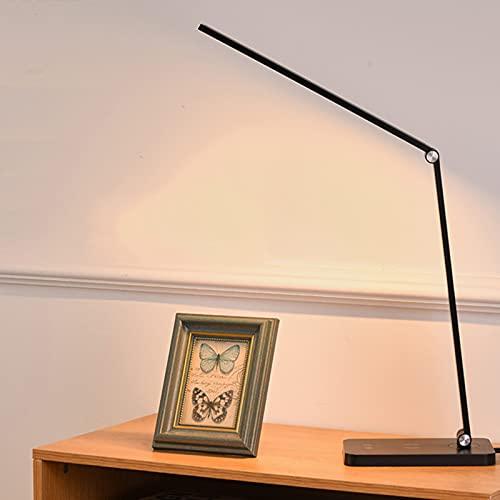 LOXO CASE Lámpara Escritorio LED,Lámpara de Mesa Regulable,Función de Memoria,Control Táctil para Leer,con Puerto de Carga USB,con 3 Modos de Color,para Trabajo,Estudio y Lectura,Black