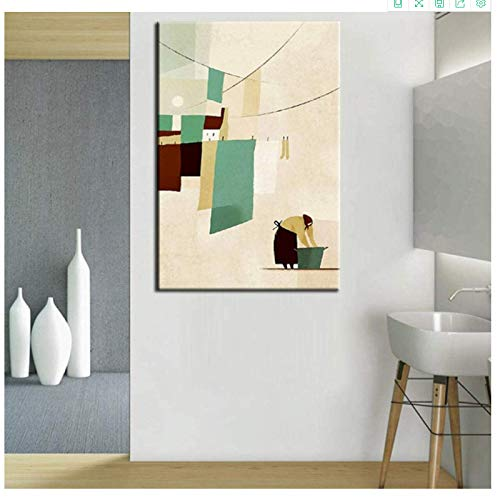 Canvas printing 70x90cm no frame Nordic Abstract Modern The Woman Washing the Clothes Hand Paint Wall Art Picture For Living Room Home Decor