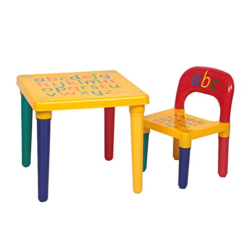 Children Letter Table Chair Set Yellow & Red