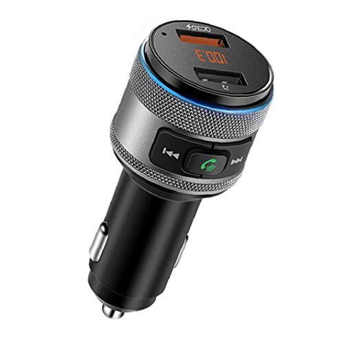 Canjerusof Bluetooth Transmisor FM de Radio inalámbrica de Coches Reproductor de mp3 C57 Adpater de Carga rápida USB Flash Drive Negro