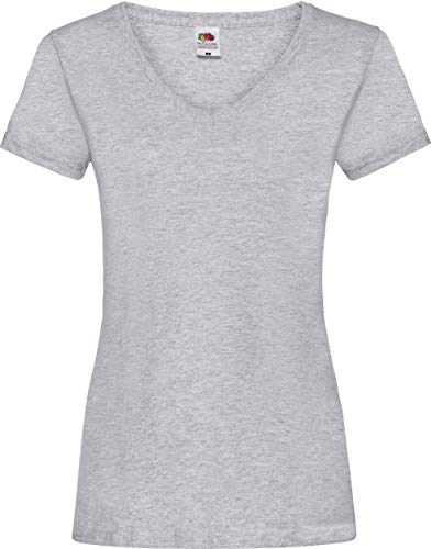 Lady-Fit Valueweight V-Neck T-Shirt von Fruit of the Loom Heather Grau L