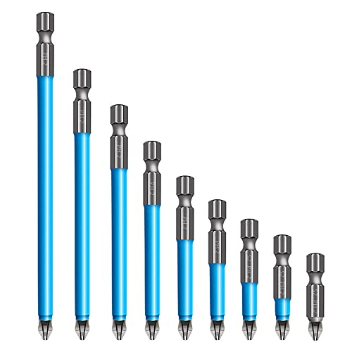 Magnetic Anti-Slip Drill Bit, 7 pcs Anti Slip Screw Extractor and Magnetic Screwdriver Bit Set PH2, Cross Head Screwdriver Bit Tools Kit (25mm-150mm)