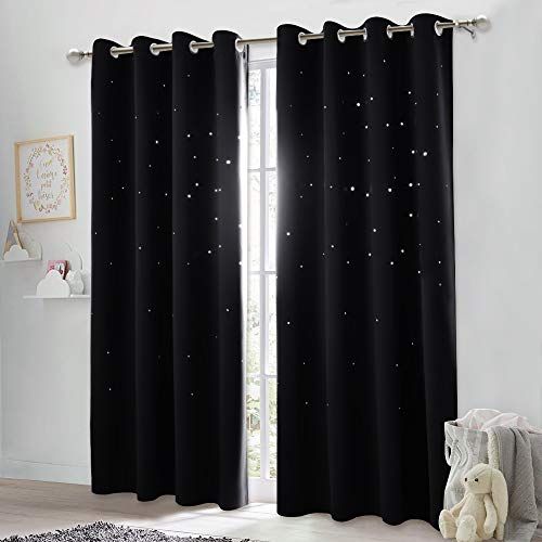 LUOWAN curtains shower curtain Starry night Total size:46 wide x 54.3 drop 117cm x 138cm mould proof resistant washable blackout curtains living room curtain tie back eyelet curtains door curtain