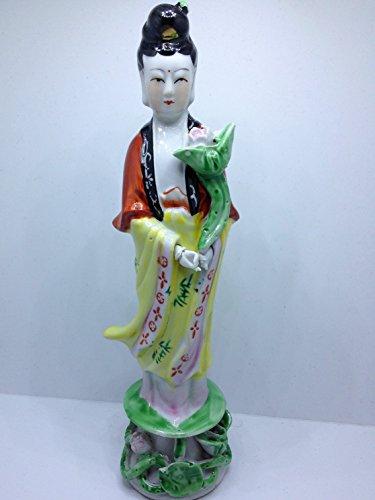 CTJ Kwan Yin Female Buddha Statue Premium Pocelain 9 Inches