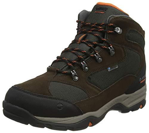 Hi-Tec Storm WP Wide, Zapatillas para Caminar Hombre, Chocolate Dk/Taupe Dk/Naranja Quemada, 43 EU