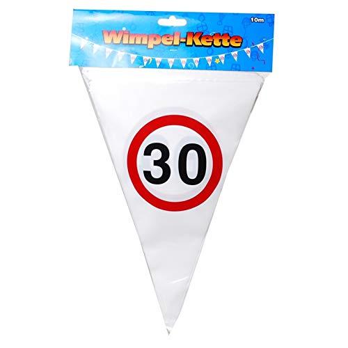 Schnooridoo 12 tipos de confeti, diseño de serpentinas para 30 cumpleaños, guirnalda con banderines '30', 10 m