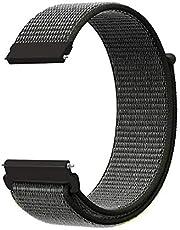 KNY Samsung Galaxy Watch 3 Bluetooth 45mm (22mm) İçin Kumaş Desenli Çırtçırlı Kayış-Kordon Koyu Gri