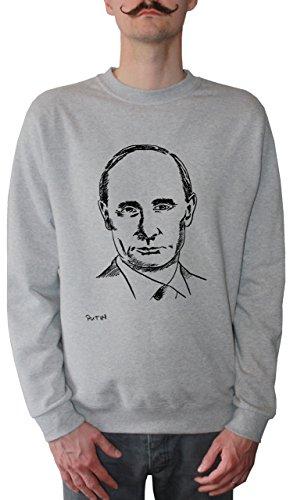 Mister Merchandise Herren Pullover Sweater Wladimir Putin, Größe: XXL, Farbe: Grau