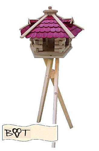 Vogelhaus, XXL Vogelvilla Vöglehus groß aus Holz Vogelvilla Holz mit ROT mit Ständer SG50roMS Holzschindel