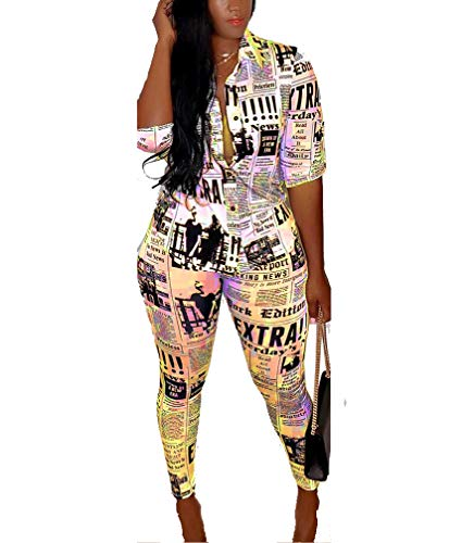 Swahugh Beach Outfits for Women - Club Outfits for Women Two Piece Outfits for Party Club Night Summer Newspaper Print Shirt Bodycon Long Pants Tracksuit Outfits Yellow