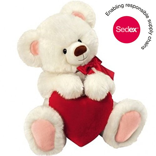 Original Honey Bear – Peluche d'ours blanc avec cœur, 30 cm