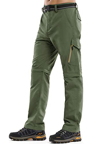 Light Weight Hiking Pants for Men,Quick Dry Water Resistant Comfortable Zip Off Trail Pants,6088,Army,32