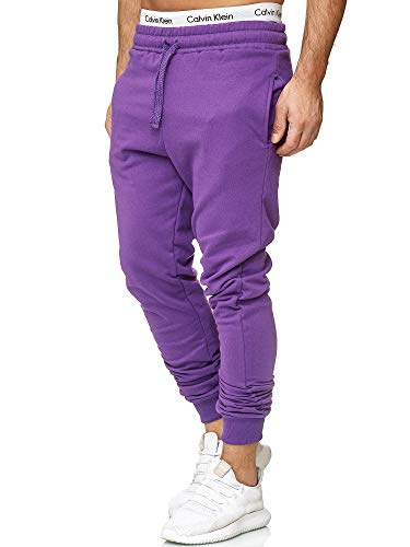 OneRedox Herren | Jogginghose | Trainingshose | Sport Fitness | Gym | Training | Slim Fit | Sweatpants Streifen | Jogging-Hose | Stripe Pants | Modell 5000C Lila L