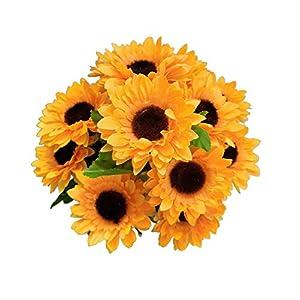 "Suandsu Artificial Sunflowers 4 Bouquet Fake Silk Flowers for Home Wedding Office Party Decor 11.5"" High"