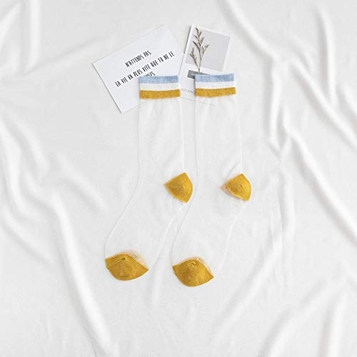 Calcetines de Barco de Encaje,Calcetines de Tubo de Personalidad con Calcetines de algodón Frescos y cómodos para Todos los Partidos * 5-9_A