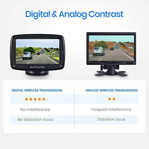AUTO-VOX CS-2 Digital Wireless Reversing Camera kit, Stable Signal Rear Camera, Super Night Vision Backup Camera and 4.3' Rear View Monitor for Vans,Trucks,Camping Cars,RVs