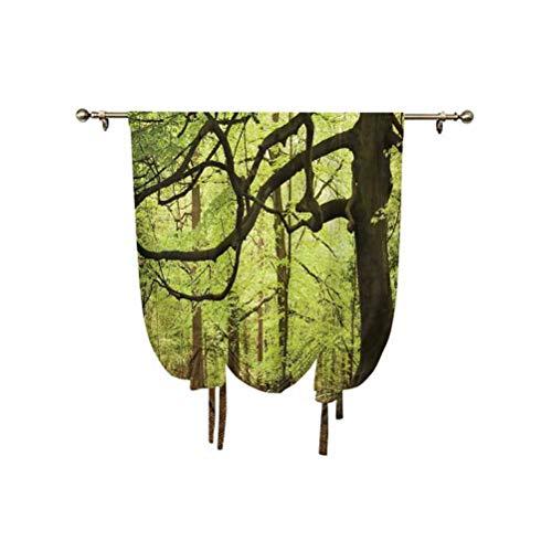Woodland Decor - Cortina de ventana pequeña, diseño de bosque inglés con temática de madre naturaleza mágica con aislamiento térmico, 81 x 137 cm, para dormitorio de niños, color gris