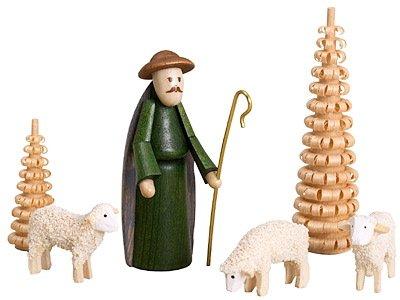 Krippenfiguren bunt – Hirte, Schafe, Spanbäumchen – Weihnachtsfiguren - Holzfiguren – Höhe 6,5 cm - Erzgebirge - NEU