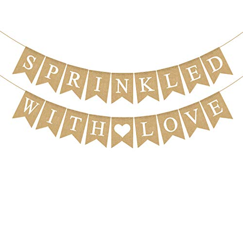Rainlemon Jute Burlap Sprinkled with Love Banner Gender Neutral Baby Shower Sprinkle Decoration Supply