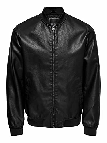 Only & Sons Onsaksel PU Bomber Jacket Otw Vd Chaqueta, Negro, L para Hombre