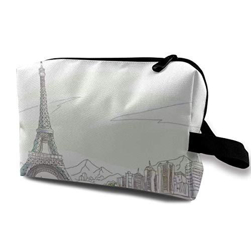 Paris, Iron Tower, New York Flower2 Cosmetic Bags Cosmetic Make Up Organizer PU Women Dark Blue