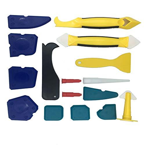 Limpiador de silicona Feizibo 16 en 1 pieza de silicona para juntas multifuncional, juego con junta, rascador, eliminador de juntas, boquilla para cocina, baño, suelo, azulejos, sink