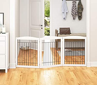 """PAWLAND Extra Wide Dog gate for The House, Doorway, Stairs, Freestanding Foldable Wire Pet Gate, Pet Puppy Safety Fence, 30"""" Height (White, 3 Panels)"""