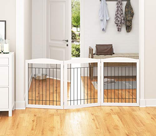 PAWLAND Extra Wide Dog gate for The House, Doorway, Stairs, Freestanding Foldable Wire Pet Gate, Pet Puppy Safety Fence, 30' Height (White, 3 Panels)