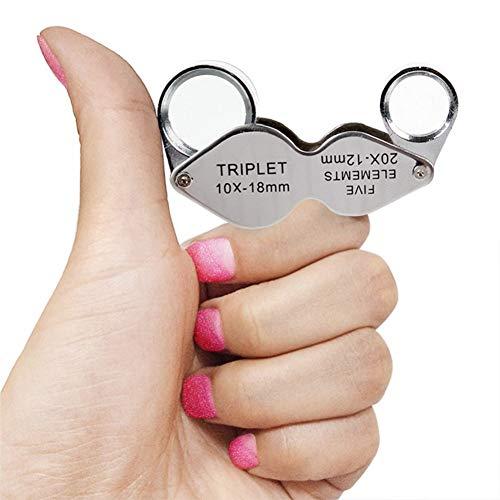 Lente d'ingrandimento pieghevole in miniatura, doppia lente d'ingrandimento 10x 20x, per gioielli, gemme, francobolli, monete, orologi da tasca small Silver