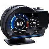HITBOX車用スピードメーター 車HUDヘッドアップディスプレイOBDII GPSデュアルシステムデジタル車HUDディスプレイ 車速計 速度超過警告 走行距離測定 エンジンRPM ゲージメーター 水温 電圧計
