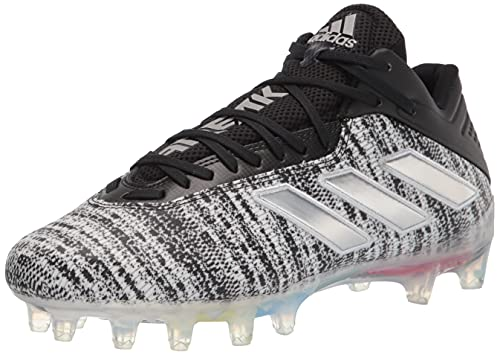 adidas Men's Freak Carbon Cleats Football Shoe, Black/Silver Metallic/White, 15