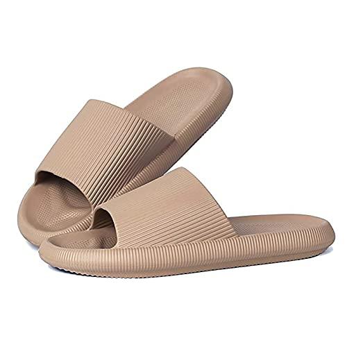Unisex Slide Sandalen Dusch-Badeschuhe Herren Damen Flip Flops Sommer Slippers Khaki 41/42 EU