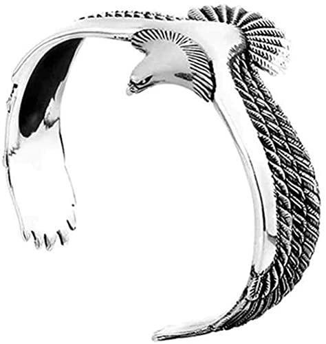 Pulsera de plata con águila de plata de ley 925, pulsera de águila vintage, pulsera de águila, joyería creativa para hombres y mujeres, plata