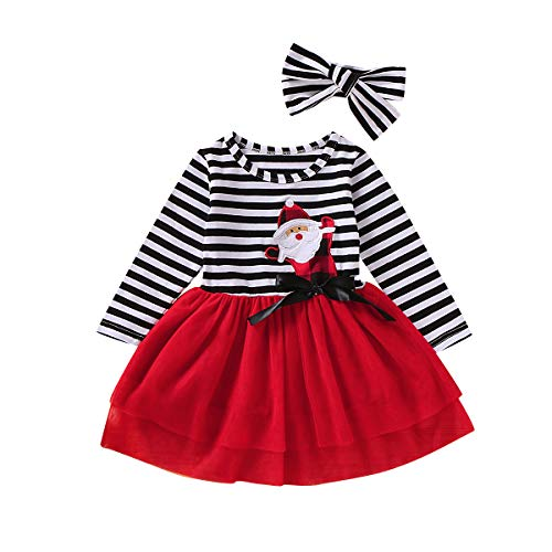 Toddler Kids Baby Girl Christmas Dress Puff Sleeve Santa Party Dresses Clothes