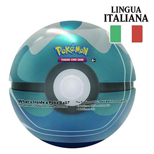 Tin Sub Ball in Italiano - Pokéball di Latta + 3 Buste da 10 Carte Casuali + Moneta Pokémon