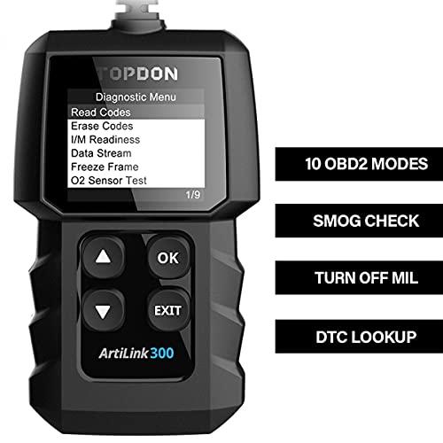 Topdon obd2 diagnosegerät,AL300 obd2 scanner,obd auslesegerät deutsch mit vollen OBD2-Funktionen,MIL ausschlaten,I/M Funktion für Inspektion.Löschen/Reset emissions-relevanter Diagnose-Info