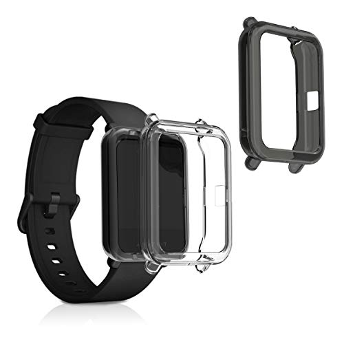 kwmobile 2X Sport Schutzhülle kompatibel mit Huami Amazfit Bip/Bip Lite - Hülle Silikon klar ohne Tracker Schwarz Transparent