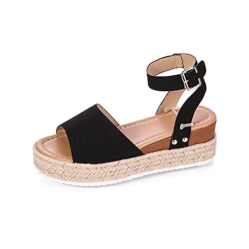 Rails Sandalias de cuña para Mujer, Punta Abierta, Correa de Tobillo, Plataforma, Sandalias de cuña, Zapatos de Verano con Envoltura de Yute (Color : Negro, Size : 4)